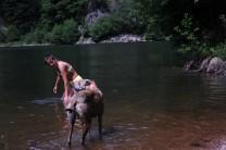 ... Frauchen geht ins Wasser!