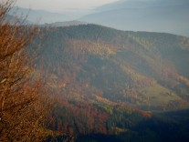 Blick hinunter ins Tal. Dort ist es bereits diesig